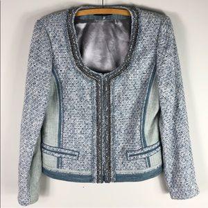Elie Tahari embellishes denim and tweed jacket